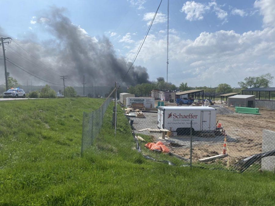A large chemical fire, as seen from the new Tower Tee under construction.