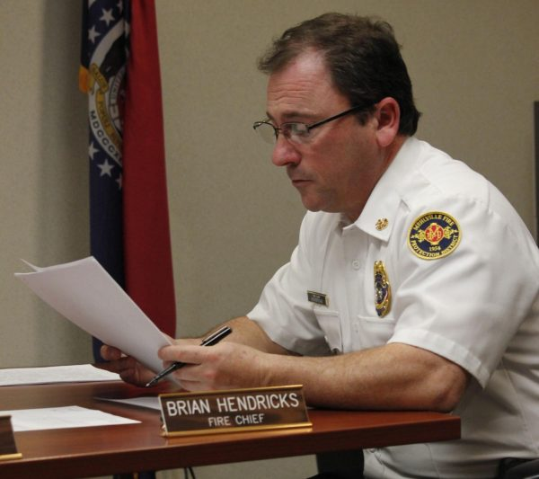 MFPD Chief Brian Hendricks speaks at a board meeting in 2019.