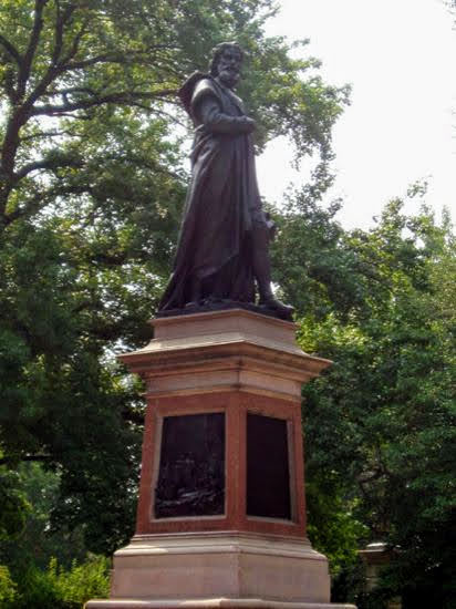 The statue of Christopher Columbus in Tower Grove Park before it was taken down in June 2020. Photo courtesy of the Regional Arts Commission.