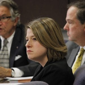 New 5th District Councilwoman Lisa Clancy, center, listens to members of the St. Louis Economic Development Partnership board testify Jan. 15, 2019, along with 6th District Councilman Ernie Trakas, left, and 7th District Councilman Mark Harder. Photo by Erin Achenbach.