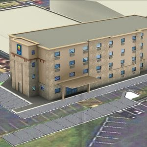 A rendering of the Comfort Suites being built by Days Inn owner HR Sheevam.