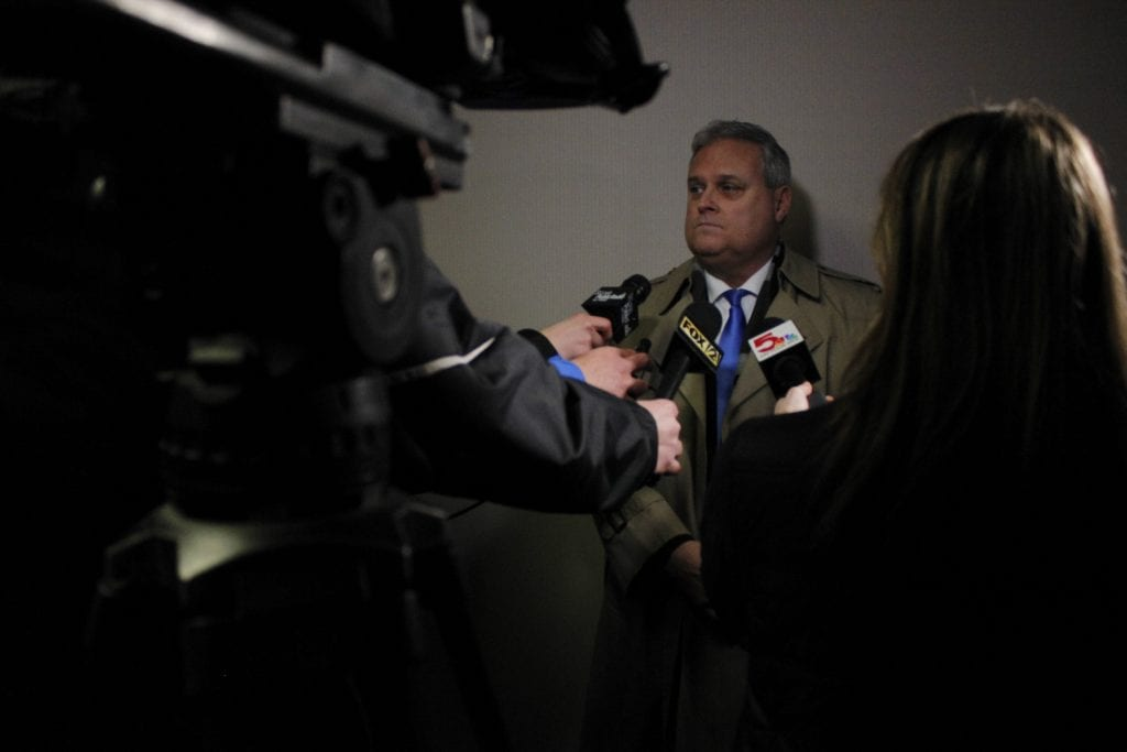 3rd District Councilman Tim Fitch takes questions from reporters after being sworn into office on Tuesday, Jan. 1, 2019. Fitch said that a primary focus of his during his time in office will  be public safety. Photo by Erin Achenbach.