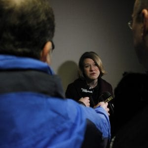 5th District Councilwoman Lisa Clancy takes questions from reporters after being sworn into office on Tuesday, Jan. 1, 2019. Clancy, a political newcomer, beat two-term incumbent Pat Dolan in the August 2018 Democratic primaries before going on to win the council seat in November. Photo by Erin Achenbach.