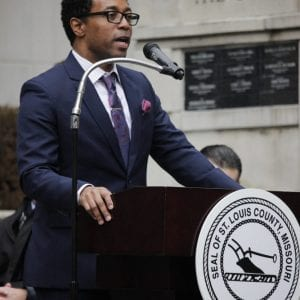 Wesley Bell is sworn in as the St. Louis County Prosecuting Attorney by Judge George W. Draper III on Tuesday, Jan. 1, 2019, after defeating former Prosecuting Attorney Robert McCulloch in an historic upset. Bell is the first black prosecuting attorney for St. Louis County in its history. Photo by Erin Achenbach.