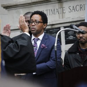Wesley Bell is sworn in as the St. Louis County Prosecuting Attorney by Judge George W. Draper III on Tuesday, Jan. 1, 2019, after defeating former Prosecuting Attorney Robert McCulloch in an historic upset. Bell is the first Black prosecuting attorney for St. Louis County in its history.