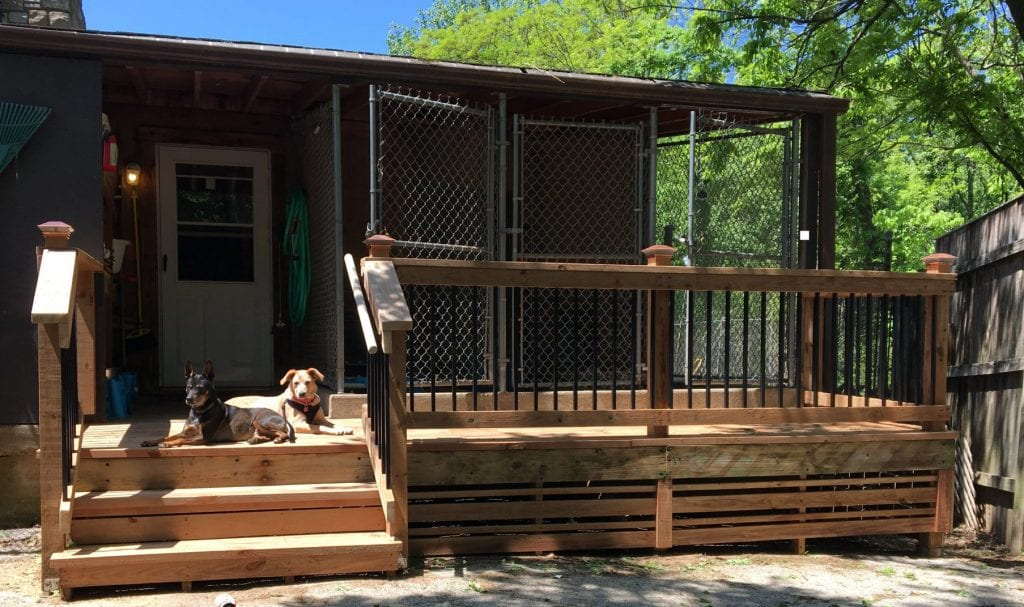 A photo of the new deck at the Crestwood Animal Shelter, courtesy of the FOACAR website.