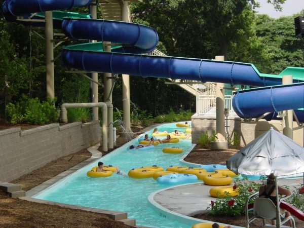 The pool at the Crestwood Aquatic Center's lazy river and slide, as seen in a photo from Westport Pools.