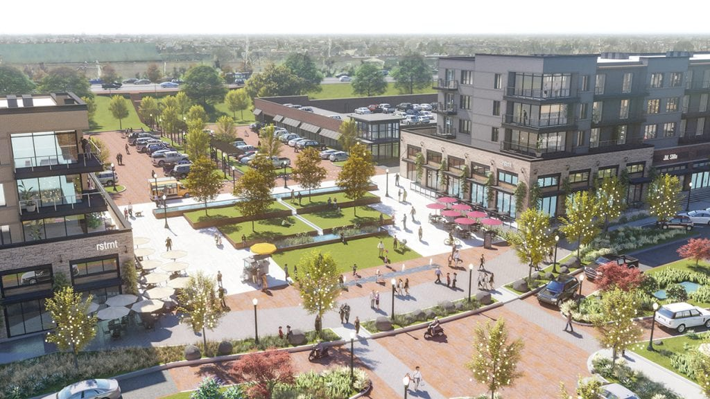 The rendering for the plaza for the now scrapped Crestwood City Center, released by Walpert in 2018.