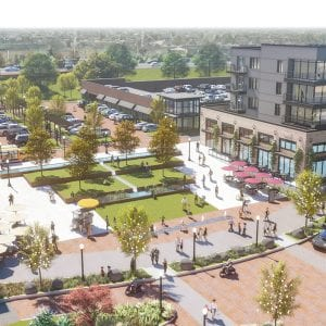 The rendering for the plaza for the now scrapped Crestwood City Center.