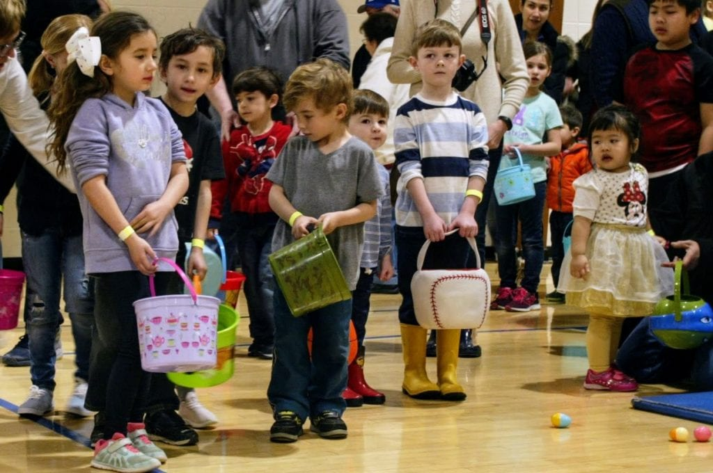 Children line up for the Crestwood Easter Egg Scramble in 2018.