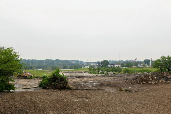 The empty Crestwood mall site, with the buildings demolished and the site leveled, as seen in May 2019.