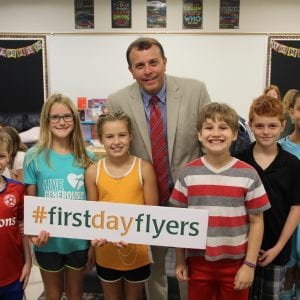 New Lindbergh Superintendent Tony Lake checks in with fourth-graders at Long Elementary School on the first day.