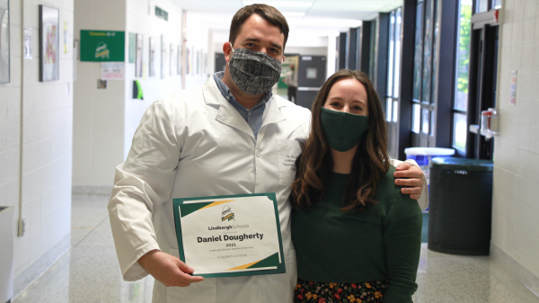Lindbergh High science teacher Dan Dougherty celebrates being honored as the 2021 Lindbergh Schools Teacher of the Year with his fiancee, LHS English teacher Hillary Switzer.