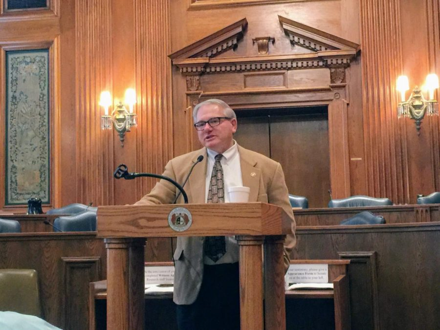 Sen. Dan Hegeman, R-Cosby, speaks to members of the Missouri Press Association about Amendment 3 in January 2020, the same day that debate on the Senate resolution for the amendment began.
