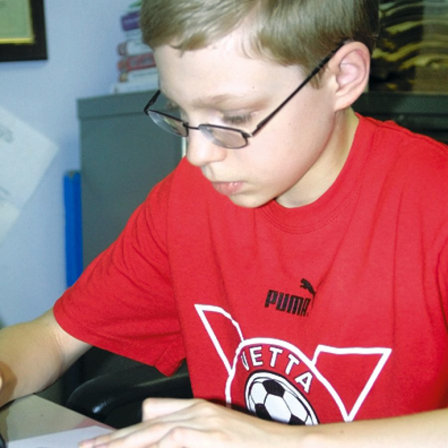 Thirteen-year-old Adam Diehl was recognized at a recent Mehlville Board of Education meeting for discovering an incorrect question on the Missouri Assessment Program test.