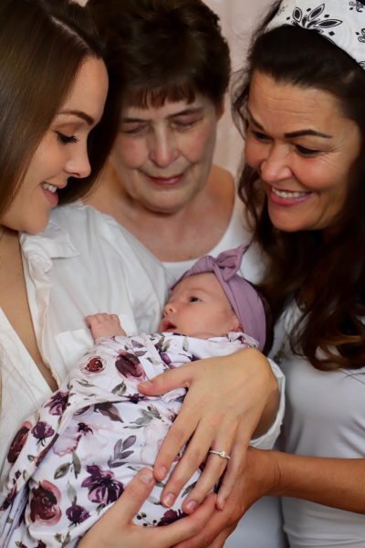 Finley Grace Hudson, front and center, with her mother Hannah Hudson, great-grandmother and grandmother