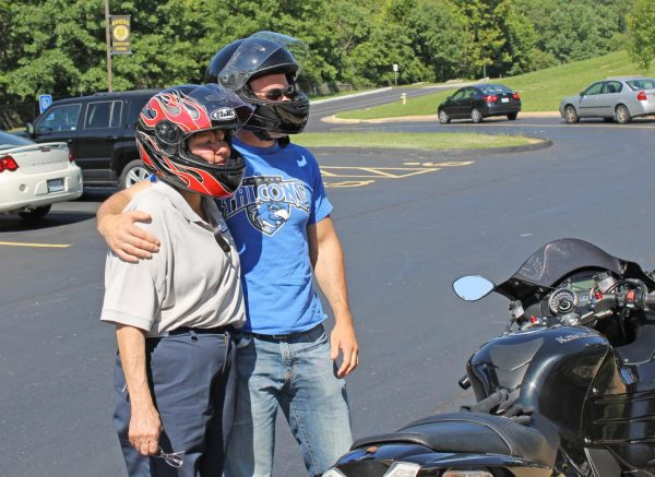 Then-Forder Elementary Principal Scott Clark, an avid motorcyclist, granted Rogers Elementary custodian Dorothy McCormick's wish to take a motorcycle ride in August 2014.
