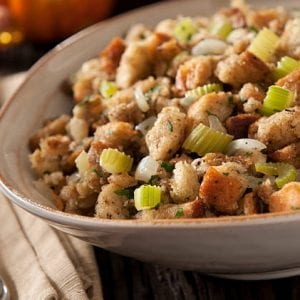 2020 Home for the Holidays Contest Deserving Dressing: Pretzel Bread Stuffing with Pancetta and Apples