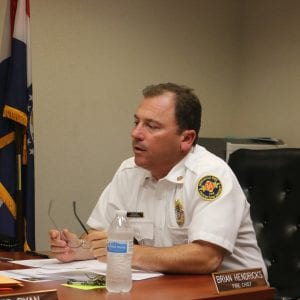 Fire Chief Brian Hendricks speaks during a MFPD Board of Directors meeting.