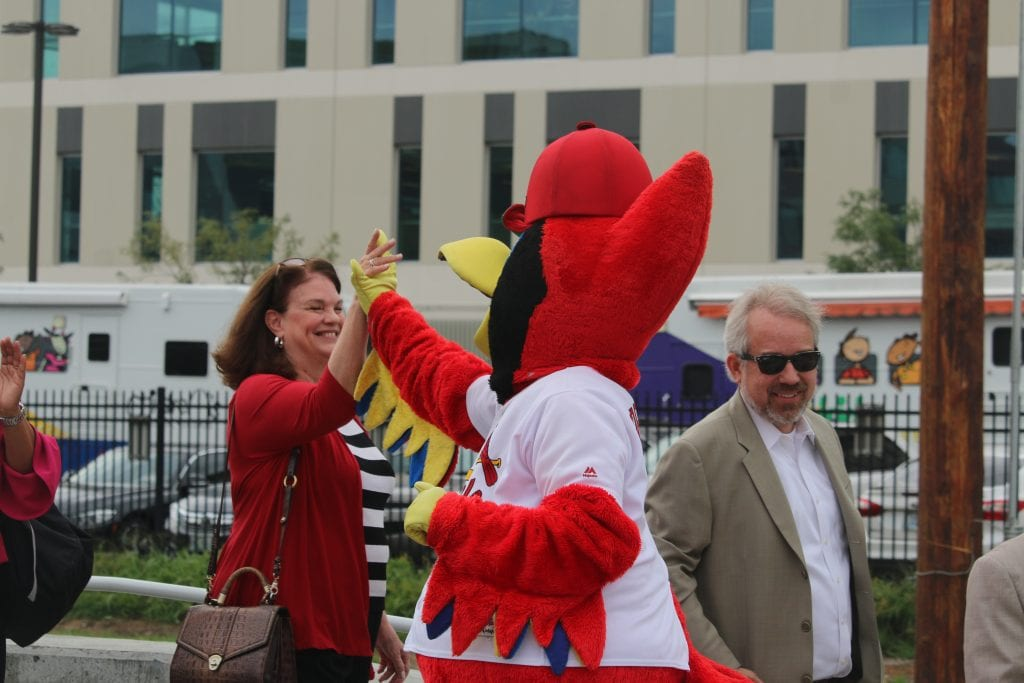 Cardinals+mascot+Fredbird+welcomes+passengers+as+they+exit+the+Cortex+MetroLink+Station.+Photo+by+Jessica+Belle+Kramer.