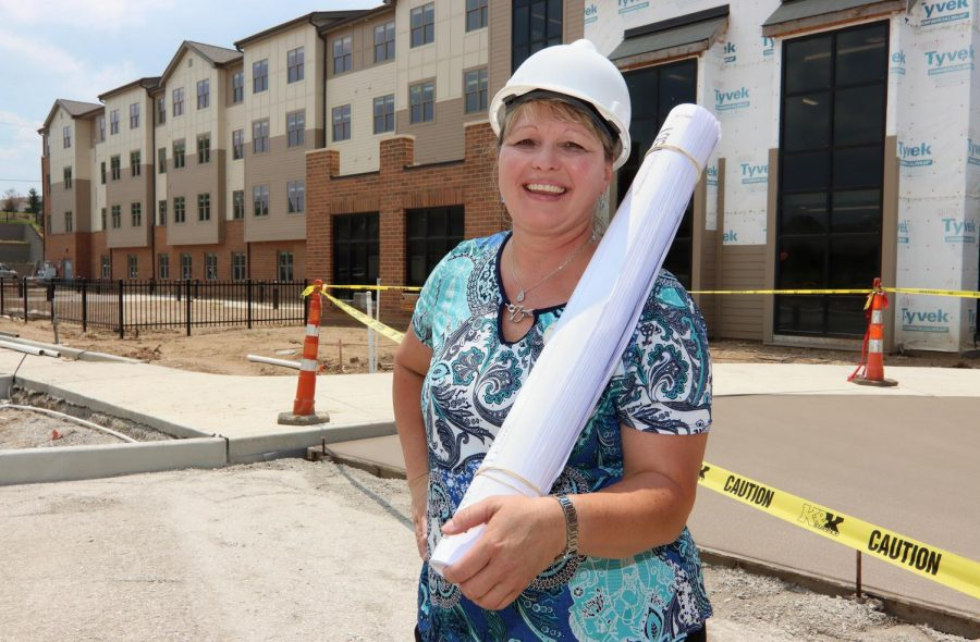 Jill Frein, construction project manager for Friendship Village, outside the new assisted-living and memory care building on Friendship Village's Chesterfield campus.