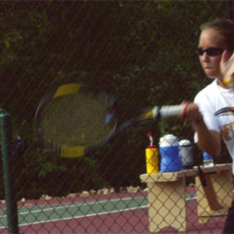 Oakville junior Stacey Goebel is making her second appearance in the state tennis championships.