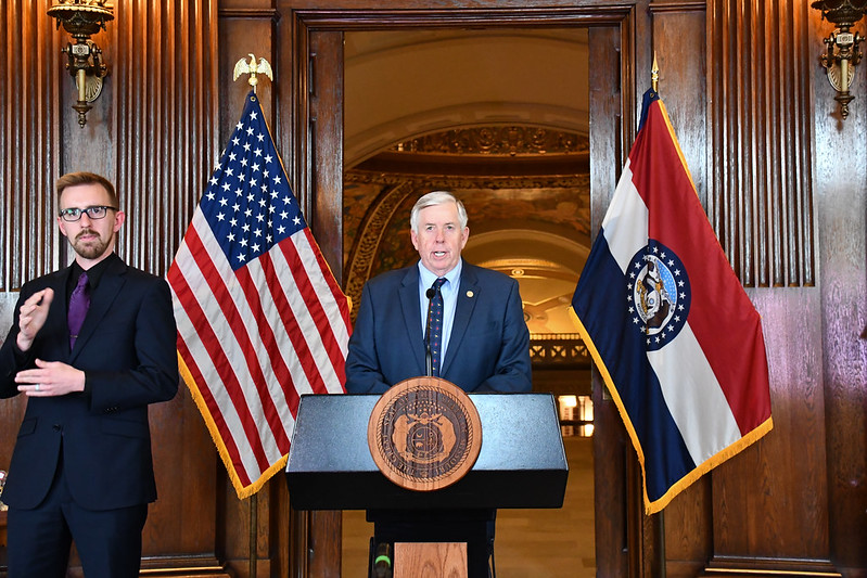 Gov.+Mike+Parson+announces+the+extension+of+his+statewide+stay-at-home+order+Thursday.+