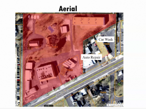 The St. Louis County Planning Commission showed this aerial view of the site proposed for the storage facility, fronting Gravois Road.