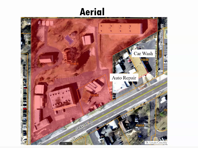 The+St.+Louis+County+Planning+Commission+showed+this+aerial+view+of+the+site+proposed+for+the+storage+facility%2C+fronting+Gravois+Road.