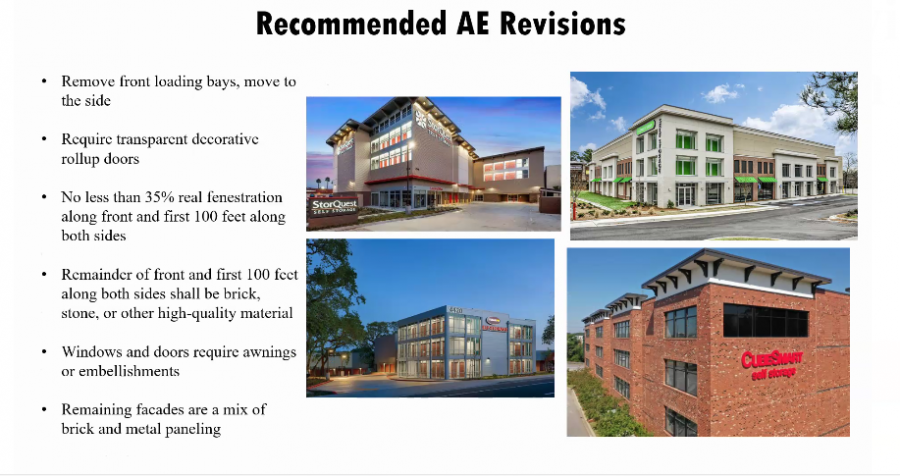 The St. Louis County Department of Planning said it will require Gravois Storage, a proposed self-storage facility, to upgrade its facade as shown in these examples given by the department at a Planning Commission vote. Screenshot by Gloria Lloyd.