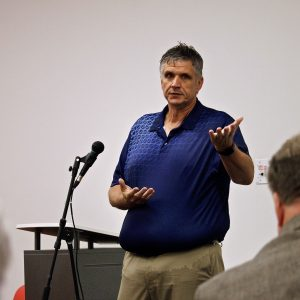 Daniel Dreisewerd, acting director of the St. Louis County Department of Transportation and Public Works takes questions from residents regarding the Gravois-Musick construction during a town hall at Grant's View Branch of the county library Wednesday, June 26. Photo by Erin Achenbach.