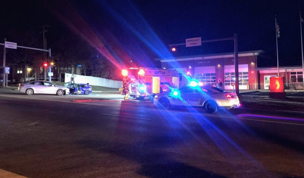 Two+cars+crashed+in+front+of+the+Affton+Fire+Protection+District+headquarters+Wednesday+night.+Photo+by+Gloria+Lloyd.