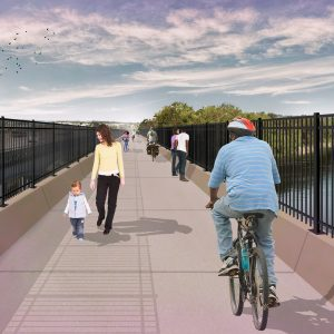 Pictured above: A proposed rendering of the pedestrian bridge project. Rendering courtesy of Great River Greenway.