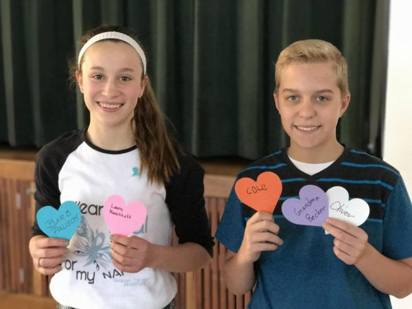 Green Park Lutheran School students National Junior Honor Society President Matt Buck, right, and Vice President Katie Huster encouraged fellow Green Park Lutheran students to dress in spirit and support for cancer research in March 2017.
