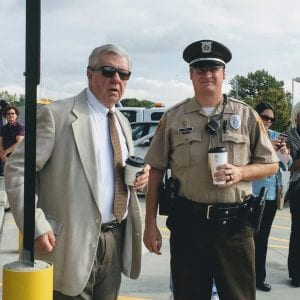 Green Park Officer Jeremy Hake, right, with Mayor Bob Reinagel at the ribbon-cutting ceremony of the new McDonald's earlier this month. Photo by Gloria Lloyd.