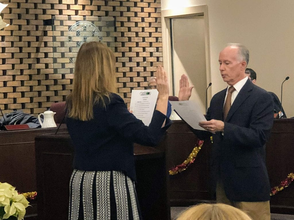 Crestwood Economic Development Commission member Greg Hall is sworn in as Ward 3 alderman by city clerk Helen Ingold on Nov. 27. Hall was appointed to the Ward 3 seat by Mabie. Photo by Erin Achenbach.
