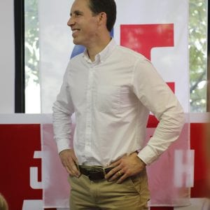 "Then-Senate candidate and now Sen. Josh Hawley speaks at a ""Stop Schumer, Fire Claire"" tour stop in Ballwin, Missouri on Tuesday, Oct. 23, 2018. Hawley defeated incumbent Sen. Claire McCaskill in November 2018, receiving 51.43 percent of the vote compared to McCaskill's 45.47 percent. Photo by Erin Achenbach."