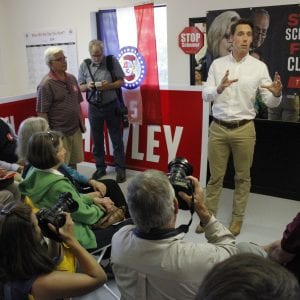 Then-Senate candidate and now Sen. Josh Hawley speaks at a campaign stop in Ballwin, Missouri, on Tuesday, Oct. 23, 2018. Hawley defeated incumbent Sen. Claire McCaskill in November 2018, receiving 51.43 percent of the vote compared to McCaskill's 45.47 percent. Photos by Erin Achenbach.