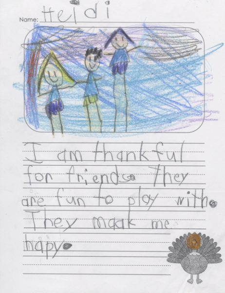 Hancock student Heidi wrote what she is thankful for, above.