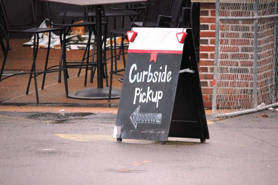 Curbside pickup was open at Helen Fitzgerald's in Sunset Hills March 18.