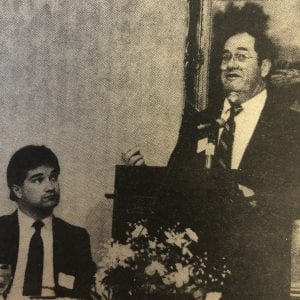 In this archive photo from 1990, St. Louis County Executive Henry C. Milford told OMC Chamber members that city officials would have no control over money from a hotel/motel tax being considered Apr. 3 by residents of St. Louis County. Milford added that St. Louis County would not be forced to make up the difference if revenue from the tax failed to produce the county's share of the operations budget. Photo by Bill Milligan.