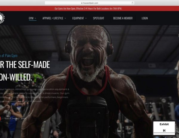 As part of its lawsuit against the gym, St. Louis County submitted this screenshot of House of Pain Gym's website, with a banner across the top saying that the gyms are open daily.