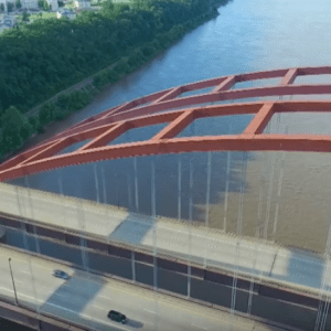 Pictured above: This screenshot from a drone video taken by YouTube user Stl Silver Fox shows the JB Bridge from above.