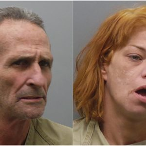 The two suspects in the string of armed robberies, James Leach, left, and Kelly Lenz, right.