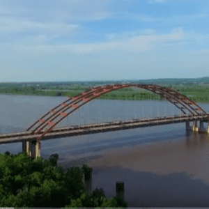 This screenshot from a drone video taken by YouTube user Stl Silver Fox shows the JB Bridge from above.
