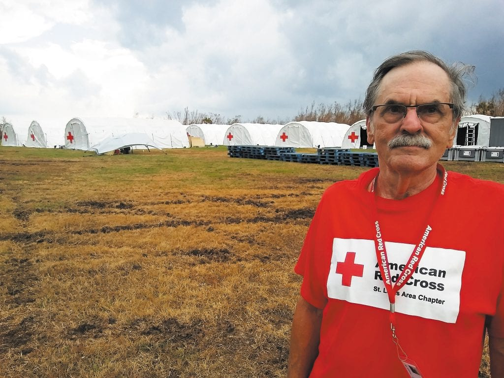 Crestwood+resident+Jim+Bubash+traveled+to+Florida+to+help+victims+of+Hurricane+Irma+there.+He+is+pictured+in+front+of+a+number+of+white+Red+Cross+tents.+He+said+he+found+volunteering+to+be+a+very+rewarding+experience.