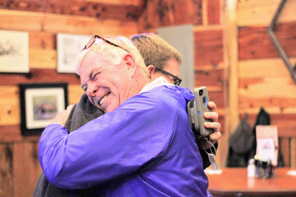 Newly+elected+state+legislator+Jim+Murphy+hugs+his+son%2C+former+Mehlville+Board+of+Education+member+Jamey+Murphy%2C+at+his+victory+party+at+Cafe+Telegraph+Tuesday+night.+Photo+by+Erin+Achenbach.