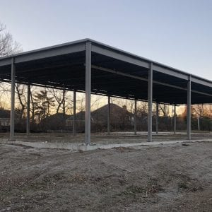 The skeleton of the would-be Jimmy John's on Tuesday, Jan. 8, 2018. Construction began at the site at 3751 S. Lindbergh Blvd. over a year ago, but little progress has been made since. Photo by Erin Achenbach.