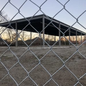 The skeleton of the would-be Jimmy John's on Tuesday, Jan. 8, 2018. Construction began at the site at 3751 S. Lindbergh Blvd. over a year ago but little progress has been made since. Photo by Erin Achenbach.