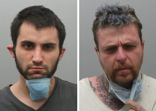 John Fernandez, 26, pictured at left, and MacDonald, 40, are charged with a burglary in Oakville Sunday night that led to a standoff with police. Both were given masks due to the coronavirus.